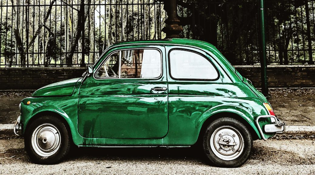 Green Car in Rome, Italy