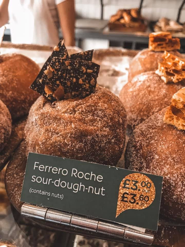 Ferrero Roche sour-dough-nut at Pinkmans Bakery, Bristol