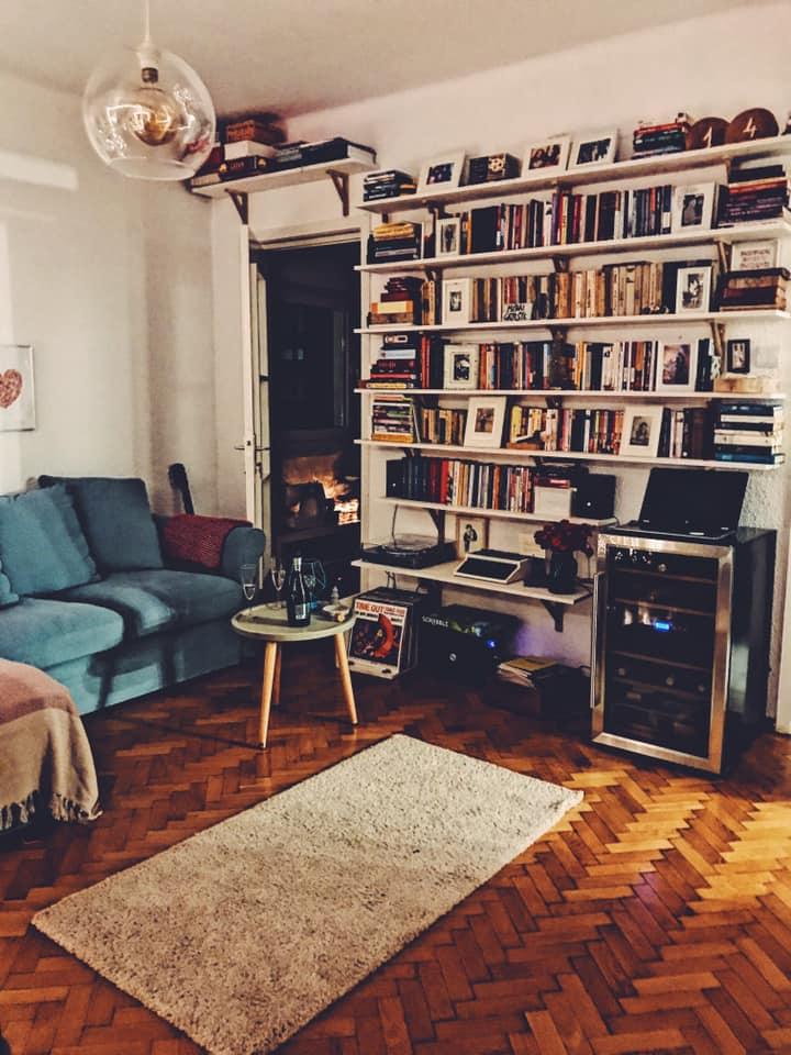 Mihai and Miruna's Apartment Bookshelf (and wine fridge)