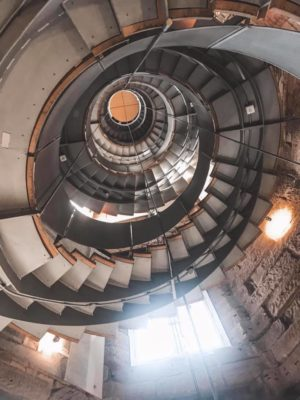 Stairs leading to the Mackintosh Tower in The Lighthouse in Glasgow