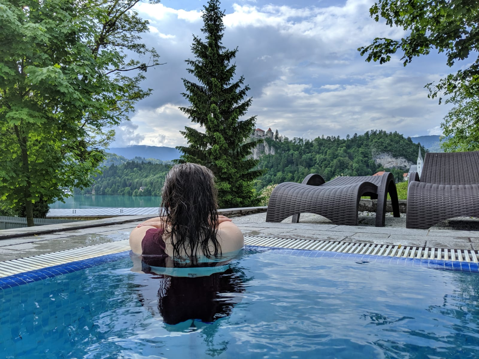 Outdoor Thermal Pool at Živa Wellness Spa in Lake Bled, Slovenia