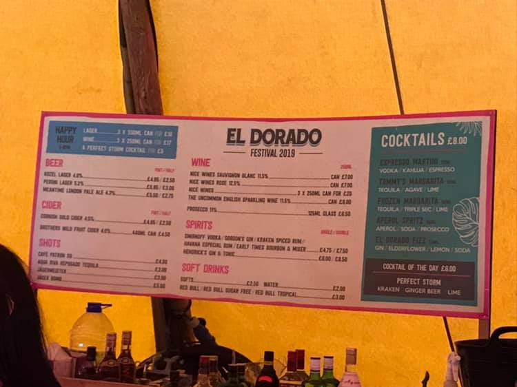 Bar Menu at El Dorado Festival